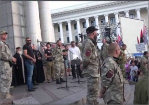Right Sector leader Dmitry Yarosh speaks to extremist group rally, Kiev, July 21, 2015