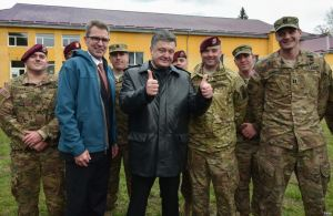 Geoffrey Pyatt (2nd left), Petro Poroshenko at Yavoriv