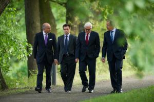 Foreign Ministers: France Laurent Fabius, Ukraine Pavlo Klimkin, Germany Frank-Walter Steinmeier, Russia Sergey Lavrov (--gazettenet.com)