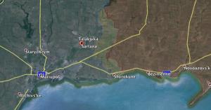 Sarkana, northeast of Mariupol. (Click to enlarge)