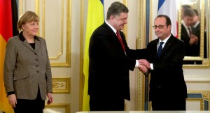 Angela Merkel, Petro Poroshenko, Francois Hollande (--Sputnik)