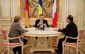 Angela Merkel, Petro Poroshenko, Francois Hollande, Minsk, Feb 2015