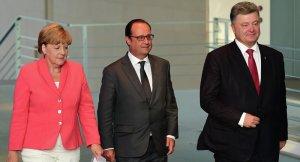 Angela Merkel, Francois Hollande, Petro Poroshenko (--Sputnik)