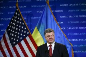 Petro Poroshenko at World Leaders Forum, Columbia University, New York, September 29, 2015. (--Reuters/Shannon Stapleton)