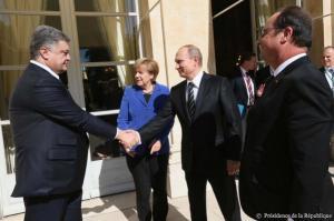 Petro Poroshenko, Angela Merkel, Vladimir Putin, Francois Hollande, Paris, October 2, 2015 (--twitter)