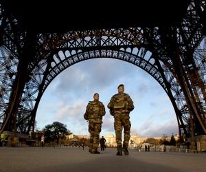 French soldiers patrol Eiffel Tower, Nov. 15, 2015. (--AP/Peter Dejong)