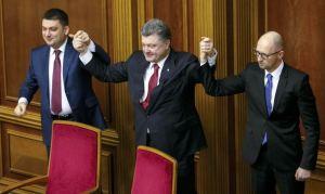 Vladimir Groisman, Petro Poroshenko, Arseny Yatseniuk (--Reuters/Gleb Garanich)