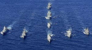 Italian frigate ITS Zeffiro leads flotilla of NATO warships (--Luigi Cotrufo-Italian Navy/Reuters)