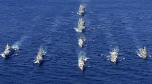 Italian frigate ITS Zeffiro leads flotilla of NATO warships (--Luigi Cotrufo-Italian Navy/Reuters)