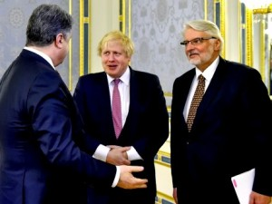 Poroshenko meets with UK Secretary of State Boris Johnson and Poland's Minister of foreign Affairs Witold Wasikowski